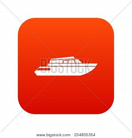 Planing powerboat icon digital red for any design isolated on white vector illustration