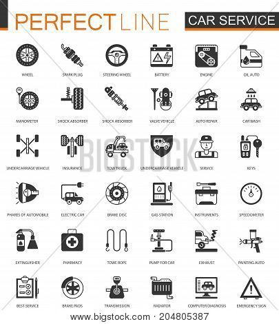 Black classic Car service icon set. Repair, car details icons isolated