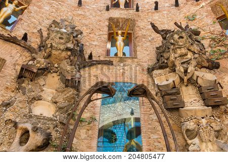 FIGUERES, SPAIN-JULY 17, 2017: The Main courtyard of the Dali Museum in Spain. The Dali Theatre and Museum is a museum of the artist Salvador Dali in Figueres town.