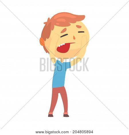 Unhappy boy character touching his head suffering from headache cartoon vector illustration isolated on a white background