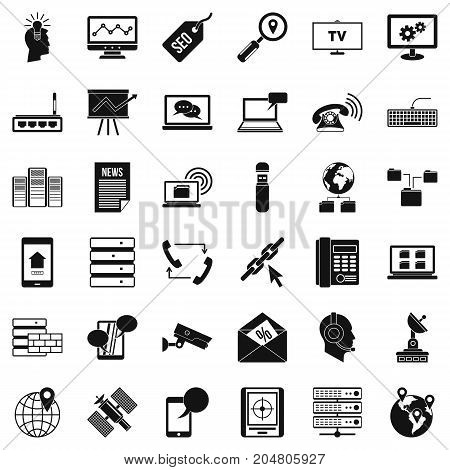Contact icons set. Simple style of 36 contact vector icons for web isolated on white background