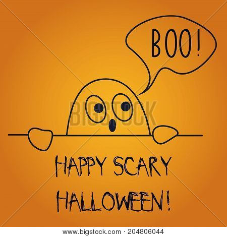 Vector illustration of postcard wishing Happy Scary Halloween with cute ghost saying boo