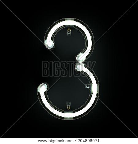 Number 3, Alphabet made from Neon Light on black background. 3D illustration