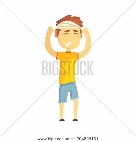 Boy with bandaged head suffering from painful headache cartoon character vector illustration isolated on a white background