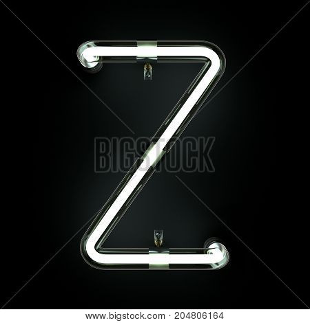 Neon Light Alphabet Z on black background. 3D illustration