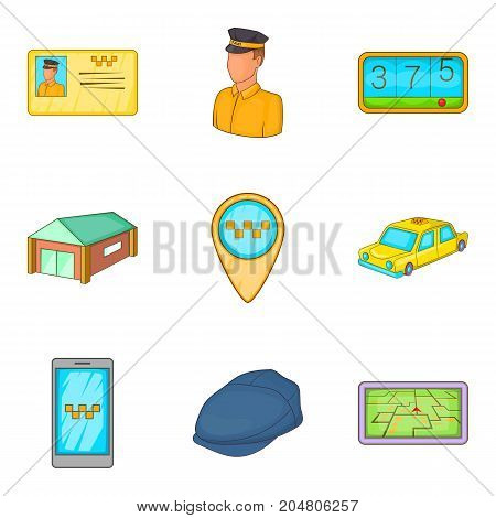 Taxicab icons set. Cartoon set of 9 taxicab vector icons for web isolated on white background
