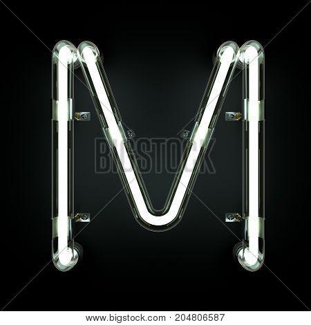 Neon Light Alphabet M on black background. 3D illustration