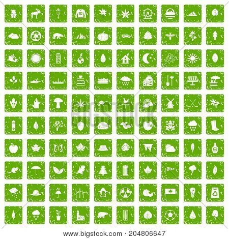 100 leaf icons set in grunge style green color isolated on white background vector illustration
