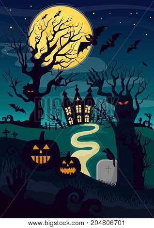 Silhouettes of mystic creatures and lantern pumpkin decoration for Halloween and horror house at night