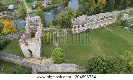 Ruins Of An Ancient Medieval Castle Dobele Latvia Aerial Drone Top View