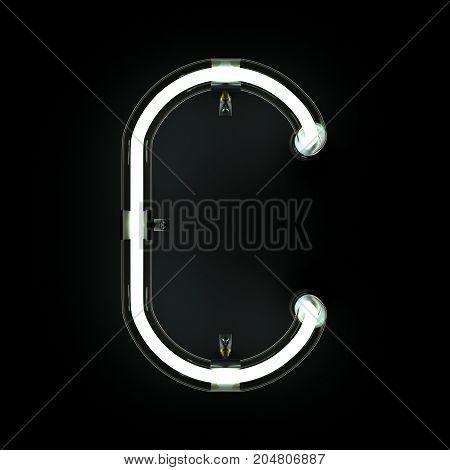 Neon Light Alphabet C on black background. 3D illustration