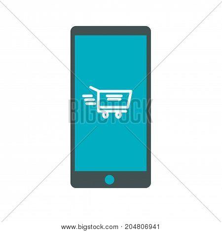 Shopping cart on mobile phone icon. Buying icon.