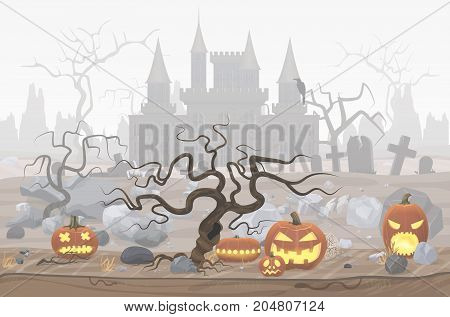 Vector illustration of pumpkin lanterns for Halloween and foggy cemetery and horror castle