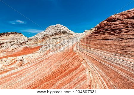 The Wave in the area of White Pocket on the Paria Plateau in Northern Arizona, USA