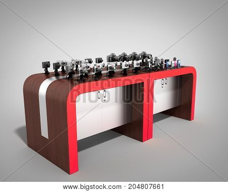Shopping Rack For Electronic 3D Render On Grey Background