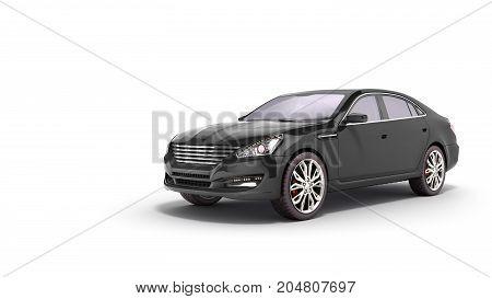 Black Car Studio View 3D Render On White Background
