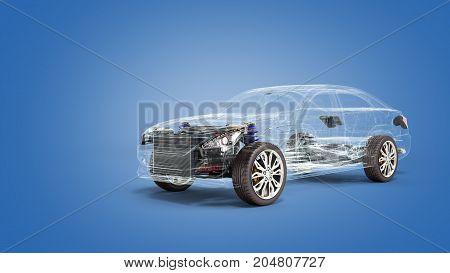 Car Diagnostic Concept Studio View 3D Render Image In Blue