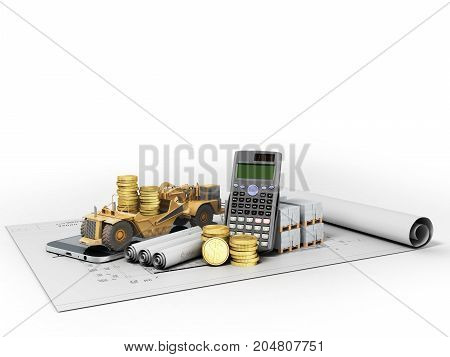 Concept Of Road Pavement Repair Construction Materials Calculations Drawing Communication 3D Render