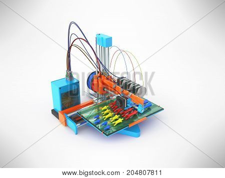 Concept Print Hand Prosthesis On 3D Printer 3D Rendering On Gray Background