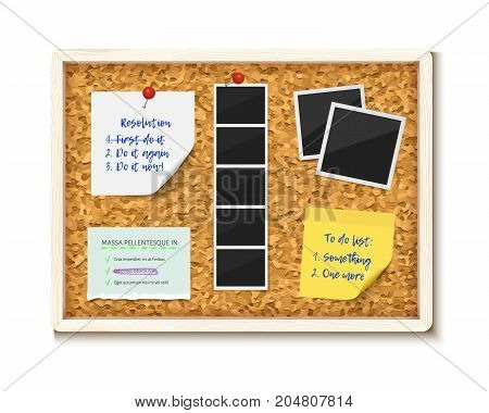 Noticeboard cork board with paper notes, to do stickers and photos. Realustic vector illustration. Corkboard for office