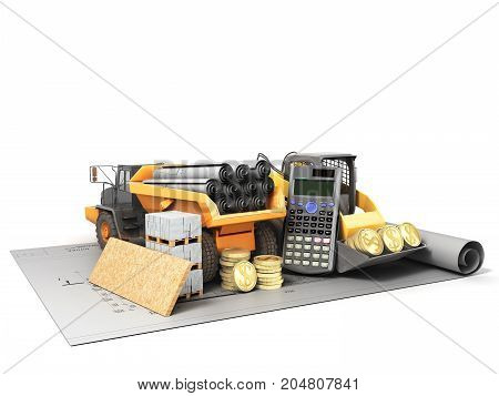 The Concept Of Road Repair Calculations Excavator Dump Truck Blueprints 3D Render On White Backgroun