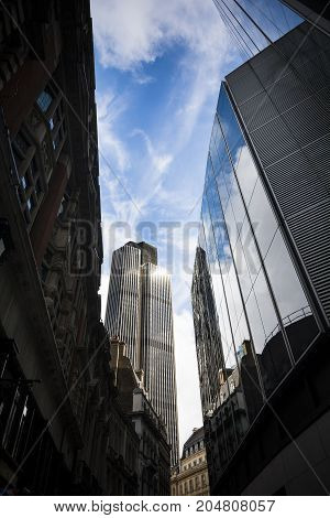 View of the City of London with skyscraper and reflections