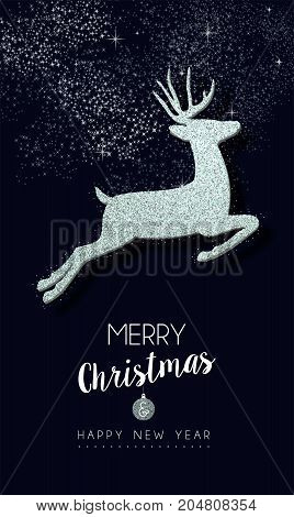 Merry Christmas and happy New Year silver reindeer decoration made of metallic glitter dust holiday greeting card design. EPS10 vector.