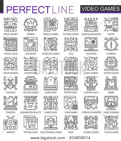 Video games outline mini concept symbols. Modern stroke linear style illustrations set. Perfect thin line icons