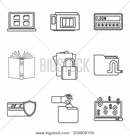 Secret document icons set. Outline set of 9 secret document vector icons for web isolated on white background