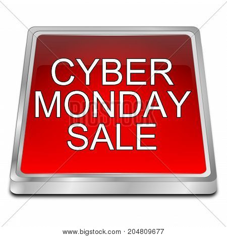 red Cyber Monday Sale button - 3D illustration