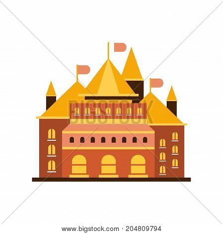 Fairytale royal castle or palace building with flags vector illustration isolated on a white background