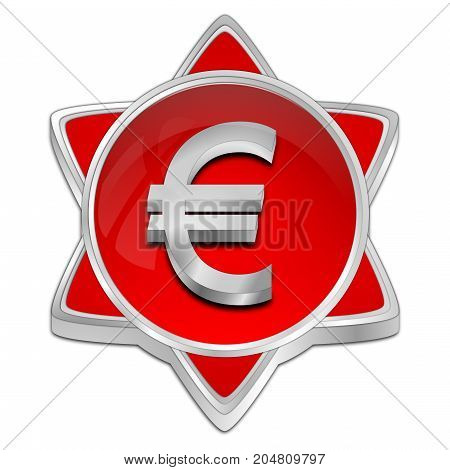 red Button with Euro sign - 3D illustration