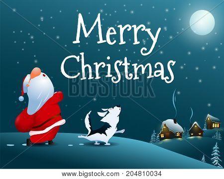 Merry Christmas! Singing Santa Claus and dog. Christmas snow scene. Santa's Village