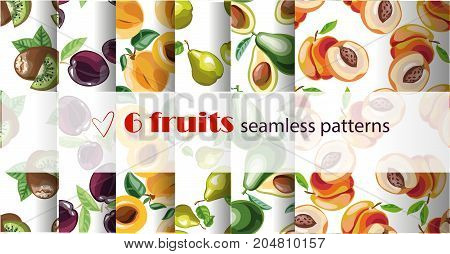 Vector seamless fruit pattern set. Vector 10 eps file. Repeating fruit pattern. Stock art Package, website design.