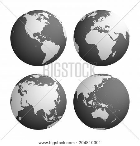 Set of four planet Earth globes with light grey land silhouette map on dark grey water background. 3D Vector illustration.