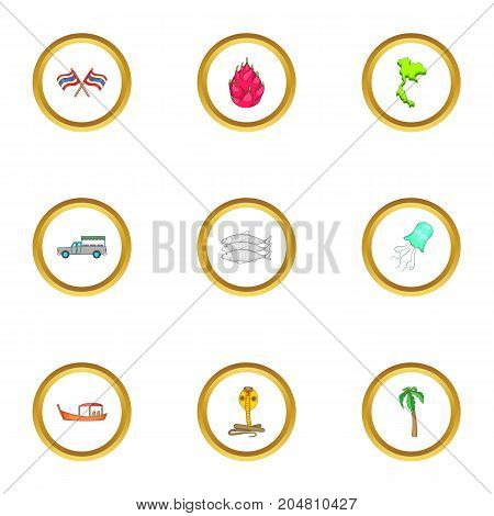 Thailand culture icons set. Cartoon style set of 9 Thailand culture vector icons for web design
