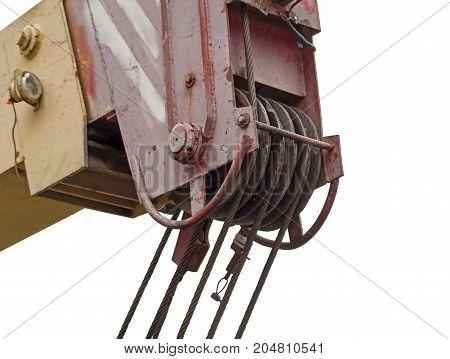 close up at top beam of crane mobile