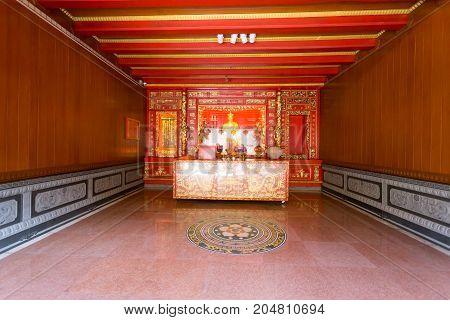 BANGKOK THAILAND - SEPTEMBER 3 2017: Wat Mangkorn Kammalawas temple (Leng Nuei Yee) Place of merit BANGKOK THAILAND.