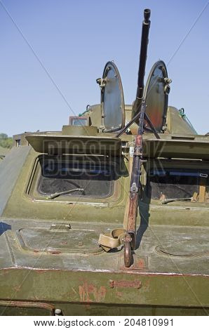 Soviet checkpoint with Russian patrol vehicle BRDM-2