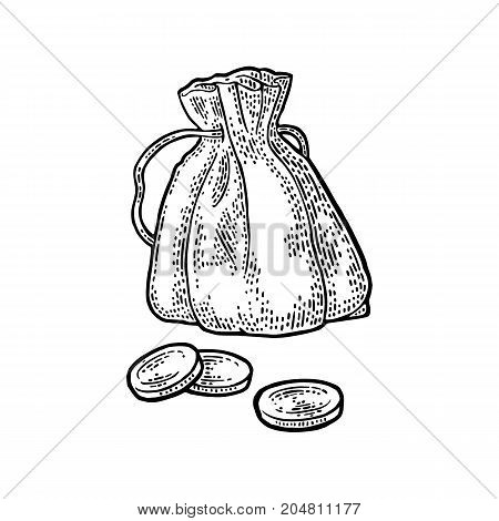 Old money bag with coins. Vintage black vector engraving illustration. Isolated on white background.