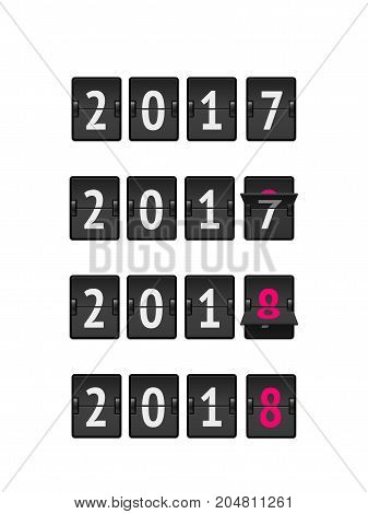 New year concept, analog countdown from 2017 to 2018 year isolated on white background