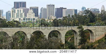 SAN DIEGO, CALIFORNIA, JUNE 11. Balboa Park on June 11, 2017, in San Diego, California. A View of Cabrillo Bridge in Balboa Park and Downtown San Diego in California.