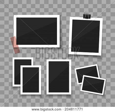Collect moments. Instant photo frame collection. Vector photo sticked with paper tape and hanged with paper clip. Empty retro photo frames on white background.