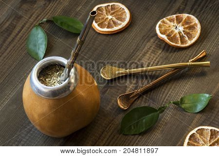 yerba mate with accesories. yerba mate concept photo