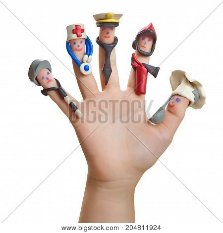 Men drawn on the fingers with clay accessories. The choice of future profession.