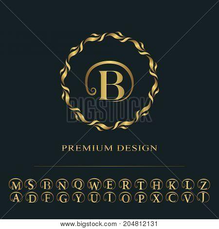 Monogram design graceful template. Calligraphic elegant line art logo design. English capital letters. Emblem sign for Royalty business card Boutique Hotel Heraldic Jewelry. Vector illustration poster