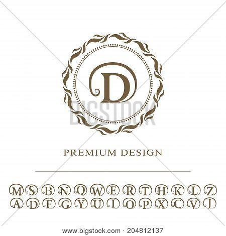 Monogram design graceful template. Calligraphic elegant line art logo design. English capital letters. Emblem sign for Royalty business card Boutique Hotel Heraldic Jewelry. Vector illustration