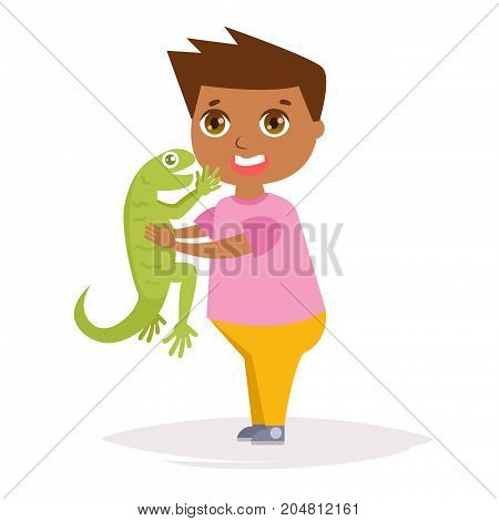 Boy with a lizard in hand. Vector. Cartoon. Isolated art on white background. Flat