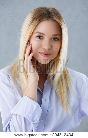 Portrait Of A Sexy Woman In A Man's Shirt Wearing