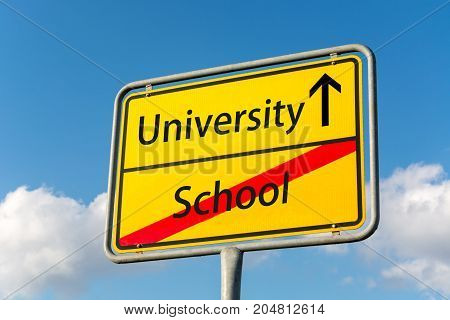 Yellow Street Sign With University Ahead Leaving School Behind